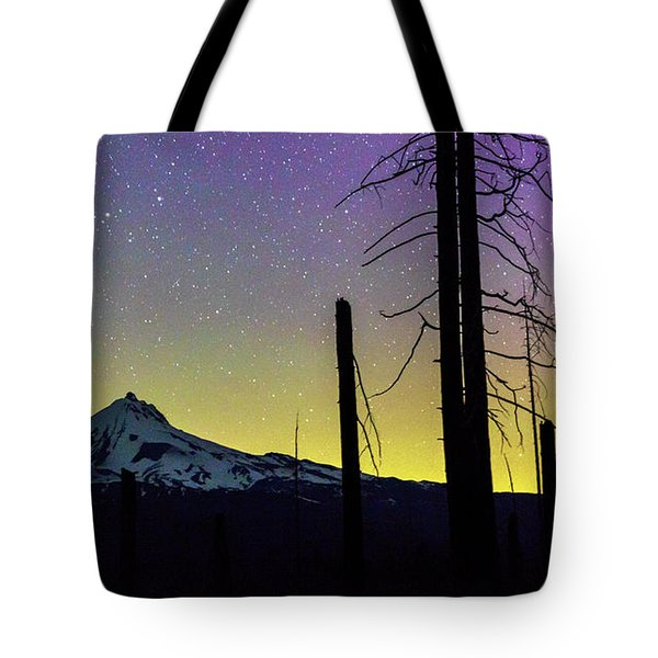 Tote Bag featuring the photograph Mt. Jefferson Bathed In Auroral Light by Cat Connor