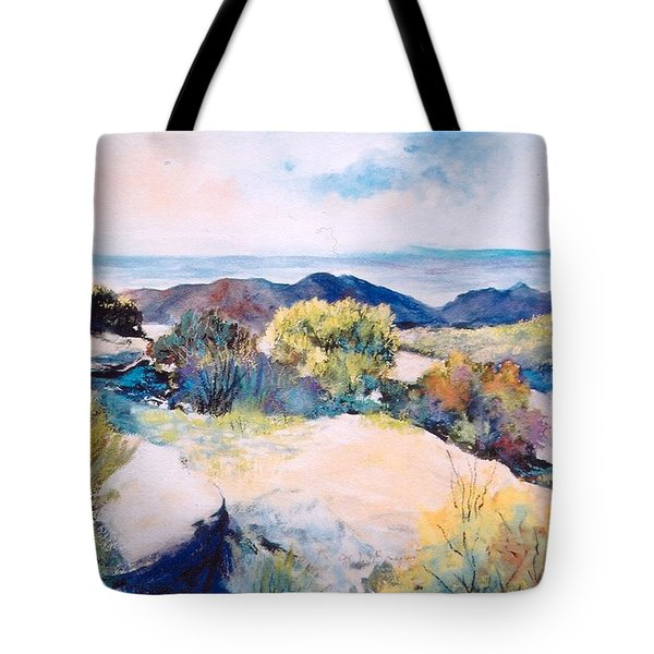 Tote Bag featuring the painting Mt Lemmon View by M Diane Bonaparte