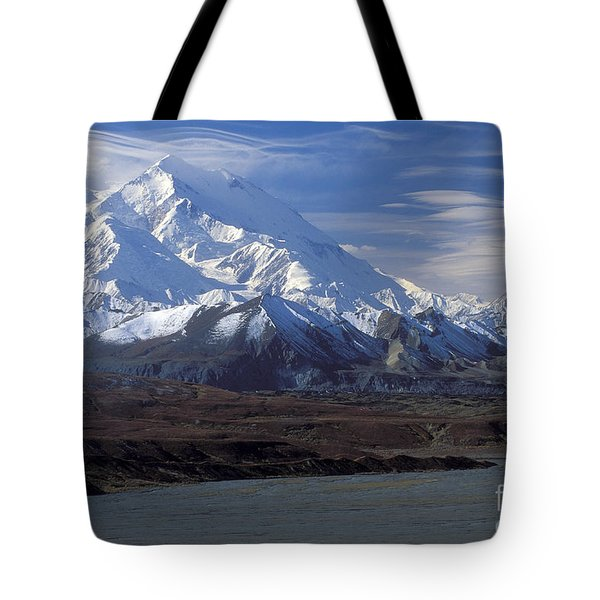 Mt. Mckinley And Lenticular Clouds Tote Bag by Sandra Bronstein