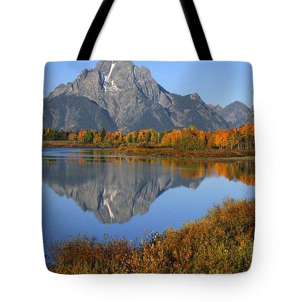 Mt. Moran Fall Reflection  Tote Bag by Sandra Bronstein