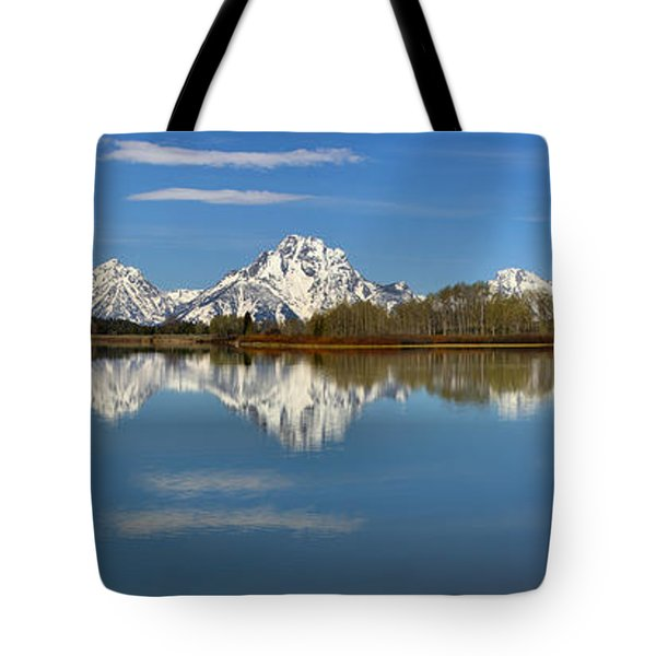 Mt. Moran Reflections At Oxbow Tote Bag by Adam Jewell