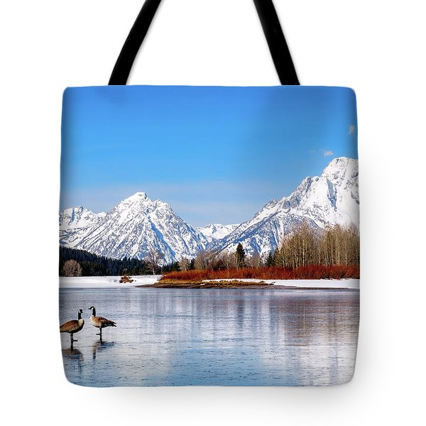 Mt Moran With Geese Tote Bag