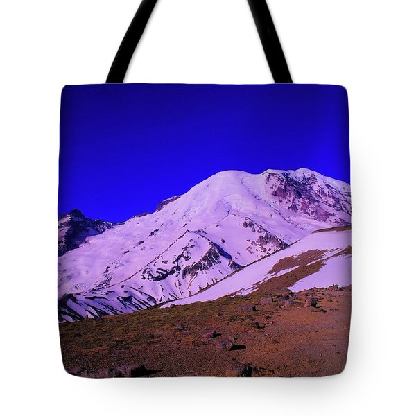 Mt Rainer And Bourroughs Mt In The Foreground  Tote Bag