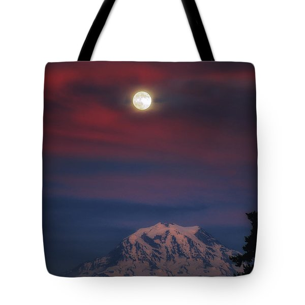 Mt Rainer Super Moon Tote Bag
