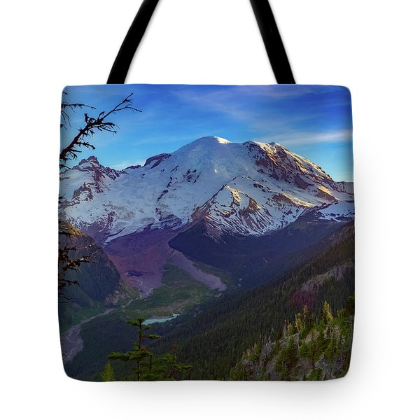 Mt Rainier At Emmons Glacier Tote Bag by Ken Stanback