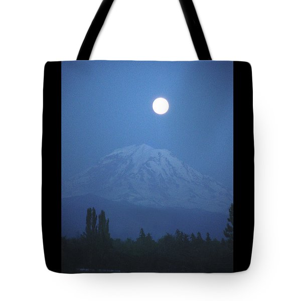 Mt Rainier Full Moon Tote Bag