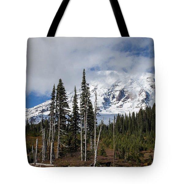 Mt. Rainier High Meadow Tote Bag by Chuck Flewelling