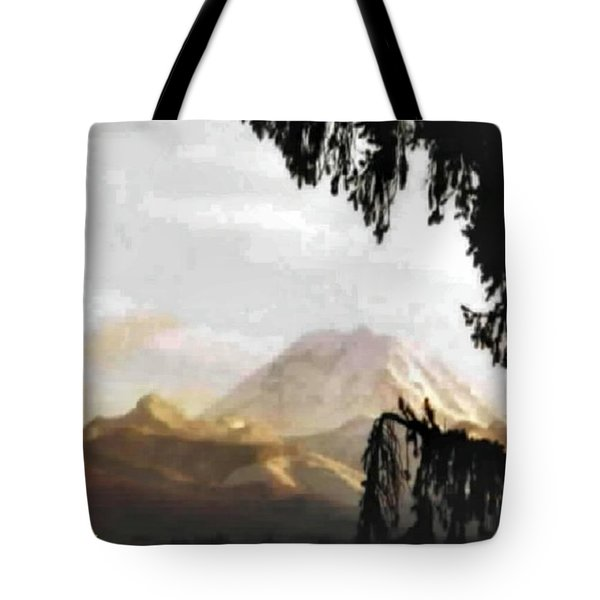 Mt. Rainier In Lace Tote Bag by Sadie Reneau