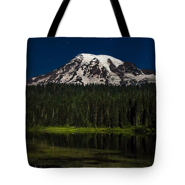 Mt Rainier In Reflections Lake At Night Tote Bag