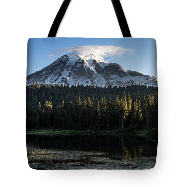 Mt Rainier In Reflections Lake At Sunrise Tote Bag