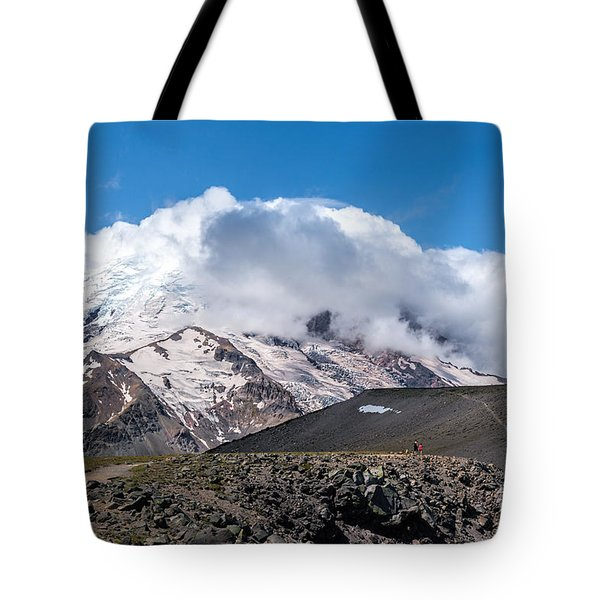 Mt Rainier In The Clouds Tote Bag