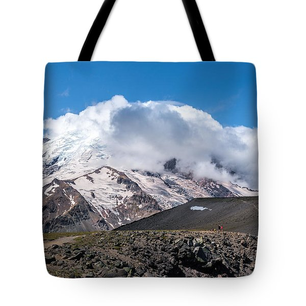 Mt Rainier In The Clouds Tote Bag by Sharon Seaward