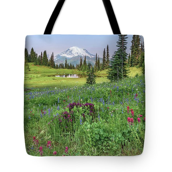 Mt Rainier Meadow Flowers Tote Bag