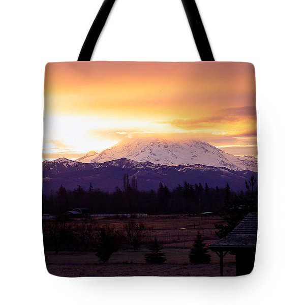 Mt. Rainier On Fire Tote Bag