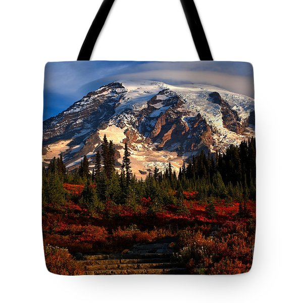 Mt. Rainier Paradise Morning Tote Bag by Adam Jewell