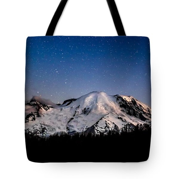 Mt. Rainier Star Light Tote Bag