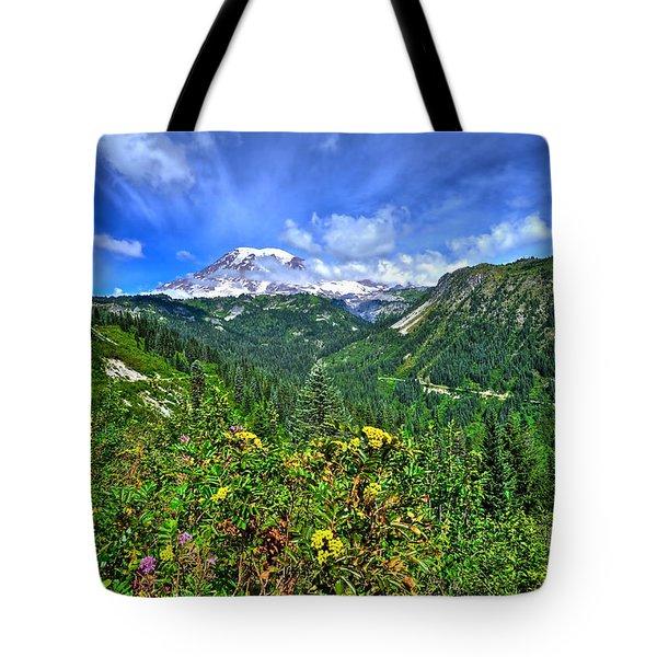 Mt. Rainier Through The Clouds  Tote Bag