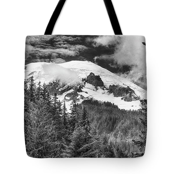 Tote Bag featuring the photograph Mt Rainier View - Bw by Stephen Stookey