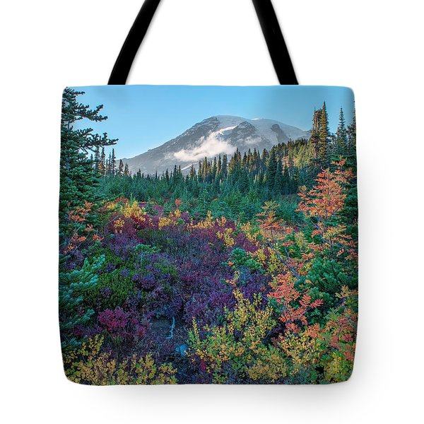 Mt Rainier With Autumn Colors Tote Bag