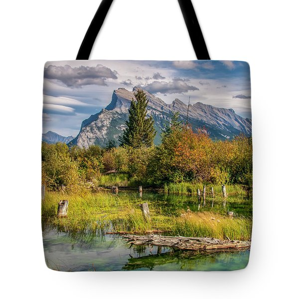 Tote Bag featuring the photograph Mt. Rundle 2009 03 by Jim Dollar