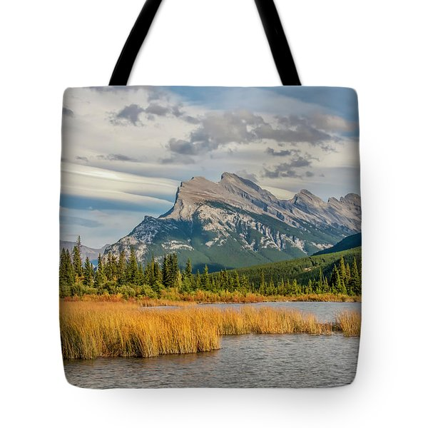 Tote Bag featuring the photograph Mt. Rundle 2009 05 by Jim Dollar