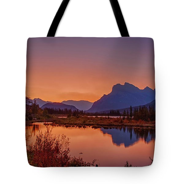 Tote Bag featuring the photograph Mt. Rundle 2009 11 by Jim Dollar
