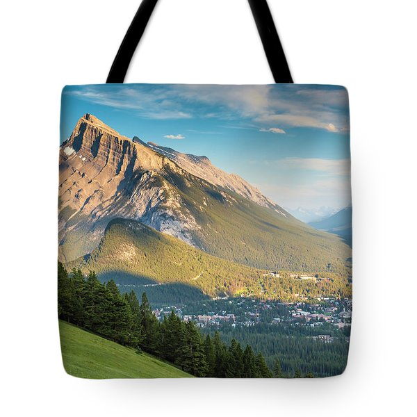 Tote Bag featuring the photograph Mt. Rundle by Mark Mille