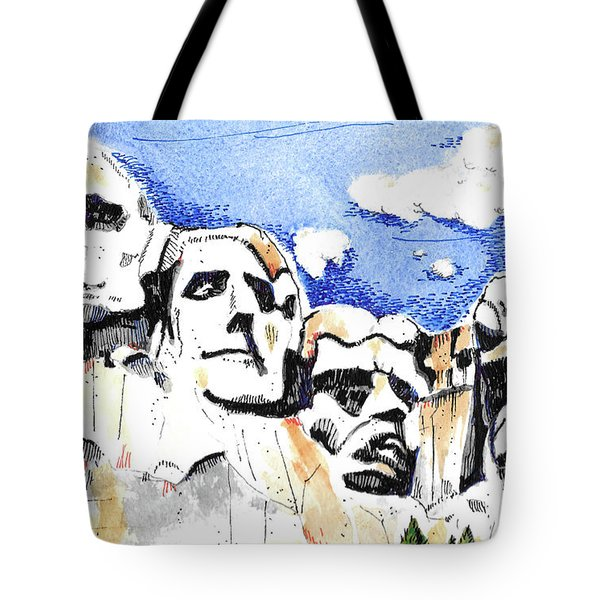 Tote Bag featuring the painting Mt. Rushmore, Usa by Terry Banderas