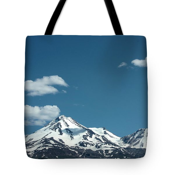 Mt Shasta With Heart-shaped Cloud Tote Bag by Carol Groenen
