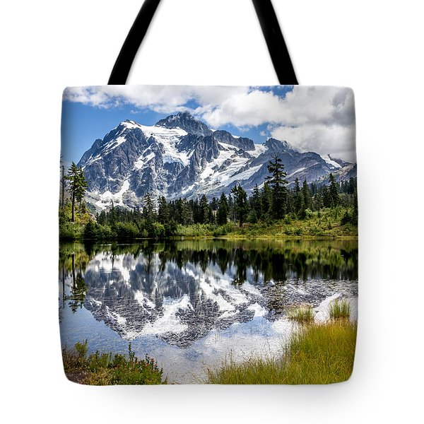 Tote Bag featuring the photograph Mt Shuksan On Picture Lake 1 by Rob Green