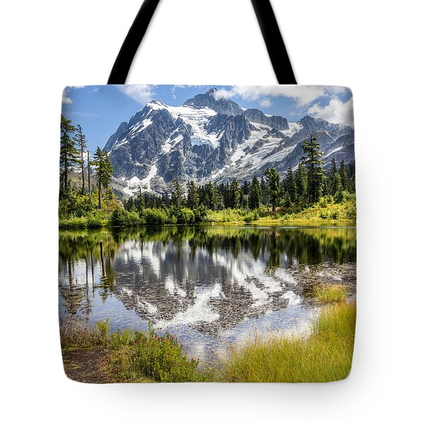 Tote Bag featuring the photograph Mt Shuksan On Picture Lake 2 by Rob Green