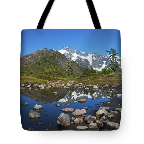 Mt. Shuksan Puddle Reflection Tote Bag by Scott Cunningham