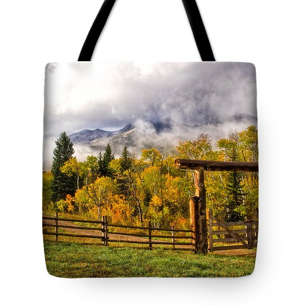 Mt Sopris Under The Clouds Tote Bag by Ronda Kimbrow