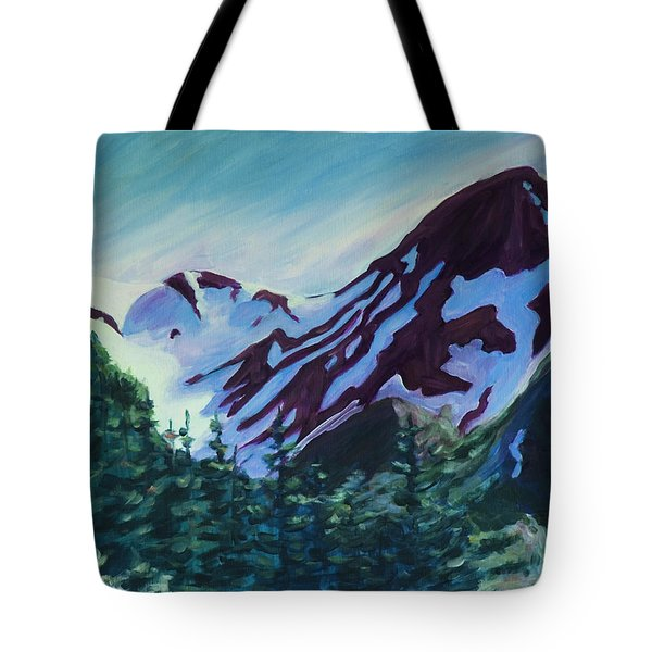 Tote Bag featuring the painting Mt.roberts Juneau Alaska by Yulia Kazansky
