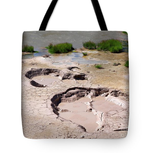 Mud Volcano Area In Yellowstone National Park Tote Bag by Louise Heusinkveld