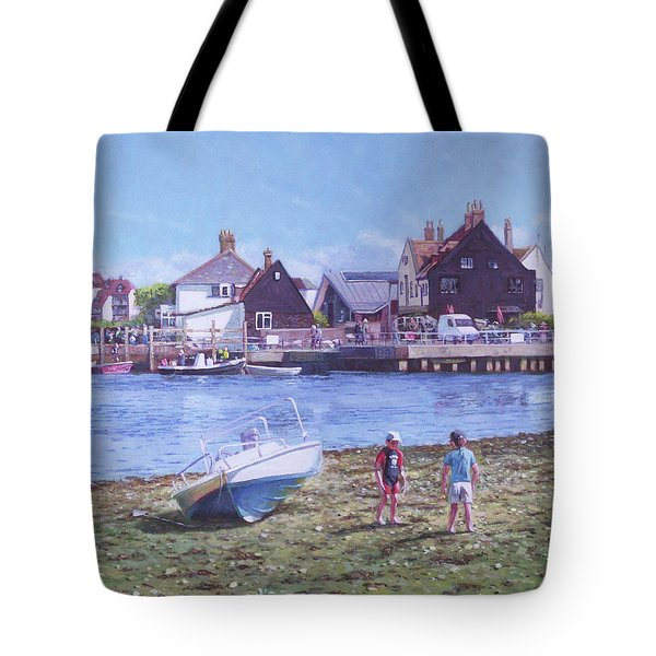 Tote Bag featuring the painting Mudeford Quay Christchurch From Hengistbury Head by Martin Davey