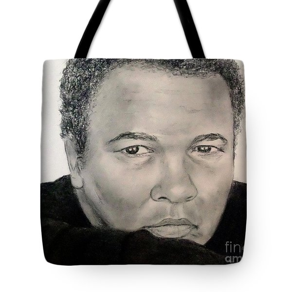 Tote Bag featuring the drawing Muhammad Ali Formerly Known As Cassius Clay by Jim Fitzpatrick