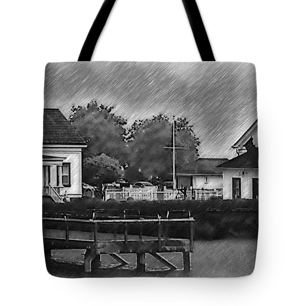 Tote Bag featuring the digital art Mukilteo Lighthouse And The Dock by Kirt Tisdale