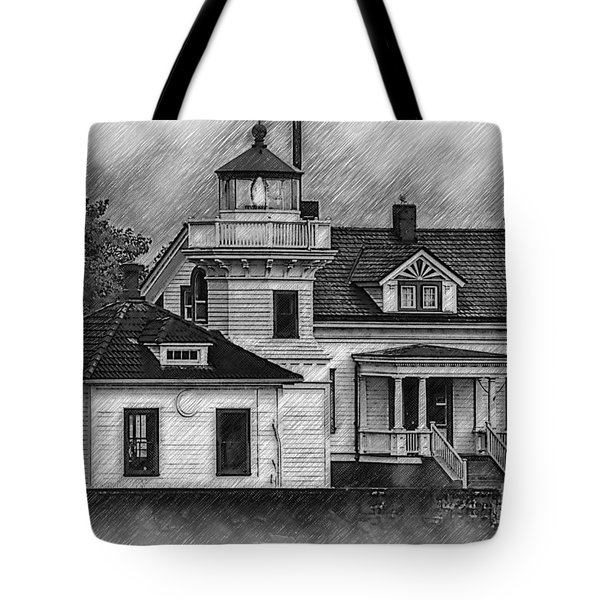Tote Bag featuring the digital art Mukilteo Lighthouse Sketched by Kirt Tisdale