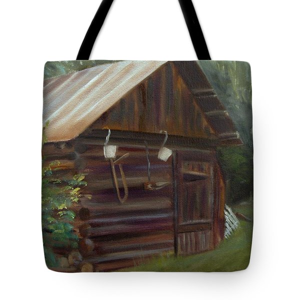 Tote Bag featuring the painting Mulberry Farms Grainery by Donna Tuten