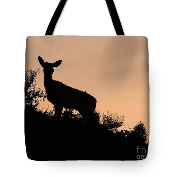 Mule Deer Silhouetted Against Sunset Ridge Tote Bag