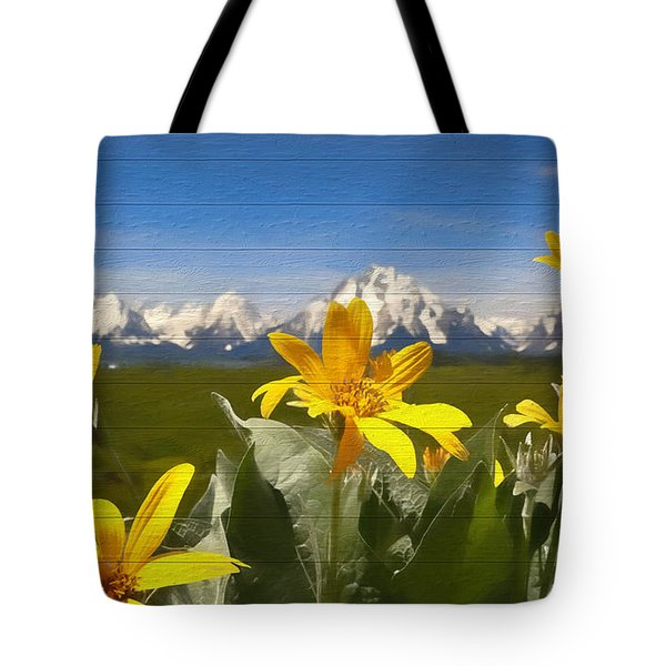 Mules Ear Flowers And Grand Tetons Tote Bag