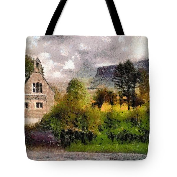 Tote Bag featuring the digital art Mullaghnaneane Church And Ben Bulben by Charmaine Zoe