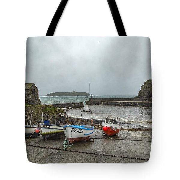Tote Bag featuring the photograph Mullion Cove Harbour by Brian Roscorla
