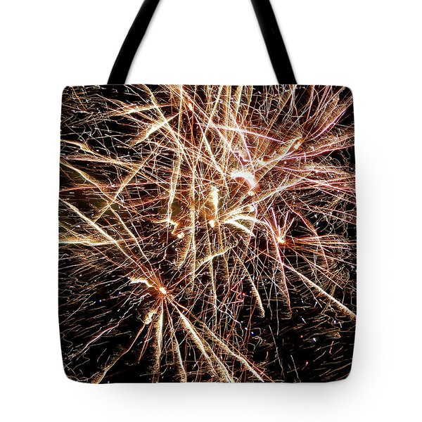 Tote Bag featuring the photograph Multi Blast Fireworks #0721 by Barbara Tristan
