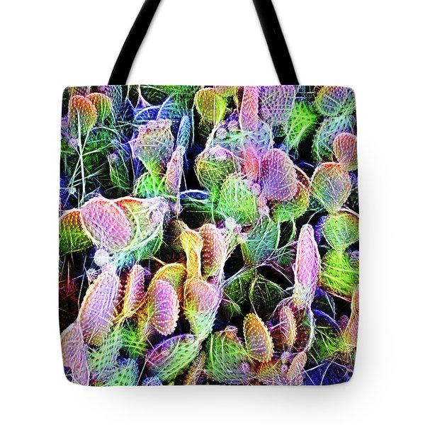 Multi-color Artistic Beaver Tail Cactus Tote Bag by Linda Phelps