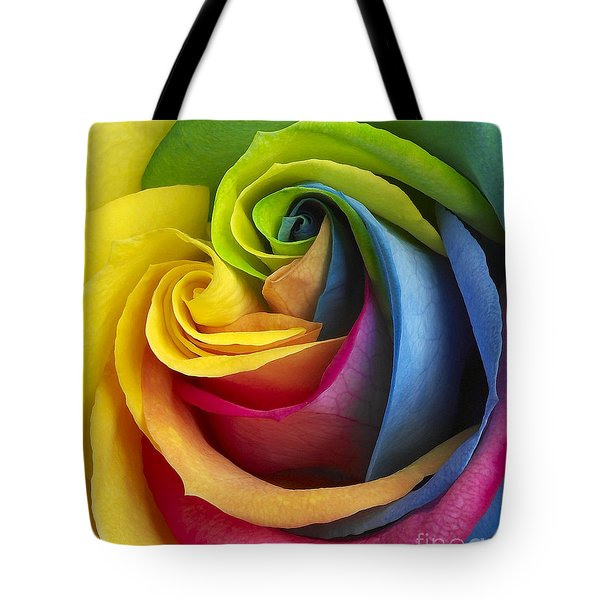 Rainbow Rose Tote Bag by Tony Cordoza