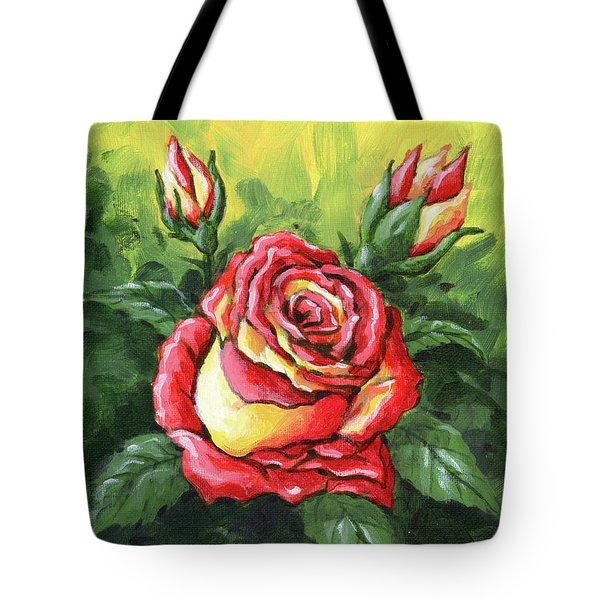 Multi Coloured Rose Sketch Tote Bag