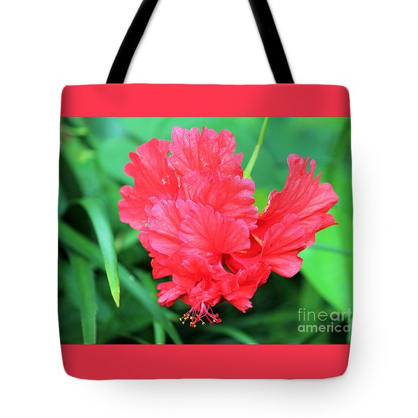 Multi-layered Red Hibiscus Tote Bag