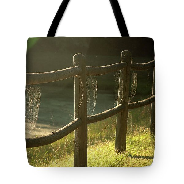 Multiple Spiderwebs On Wooden Fence Tote Bag